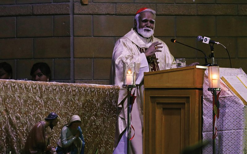 Joseph Cardinal Coutts, Archbishop of Karachi, addresses during a Christmas Eve service at the St. PatrickÕs Cathedral in Karachi,